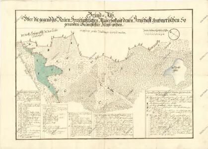 Geometrický plán sporných pozemků mezi třeboňským a novohradským panstvím u Nového Dvora u Šalmanovic