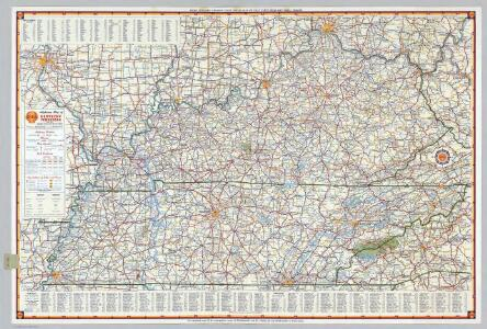 Shell Highway Map of Kentucky, Tennessee.