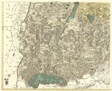 Mappa Electoratus et Ducatus Bavariae Superioris et Inferioris, Ducatus Neoburgesis cum Episcopatibus Frisingensi Ratisbonensi Passaviensi et Praepositura Bergtolsgadensi].