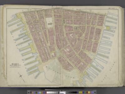 Manhattan, Double Page Plate No. 1 [Map bounded by Liberty St., Maiden Lane, East River, Hudson River]