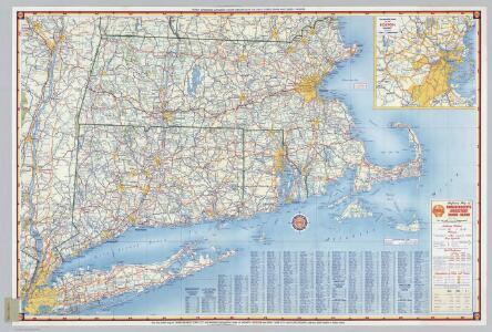Shell Highway Map of Massachusetts, Connecticut, Rhode Island.