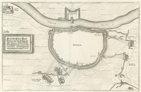 Grundtriß der Statt Höxter, vnd wie selbige von Ihr Exell. Herrn Feld-Marschaln Carol Gustaff Wrangel bezwungen vnd ein genohmen worden 1646