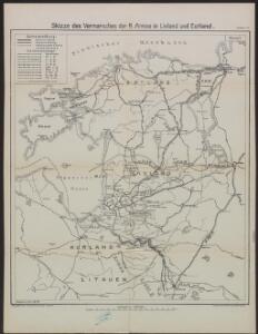 Skizze des Vormarsches der 8. Armee in Livland und Estland