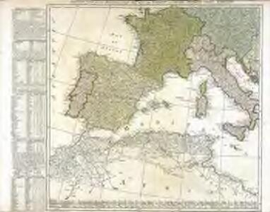 Western part of the mediterranean sea with the coasts of Spain France Italy Barbary