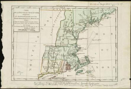 Carte de la Nouvelle Angleterre, comprenant les etats de Massachusets Bay, N. Hamp Shire, Connecticut et Rhode Island