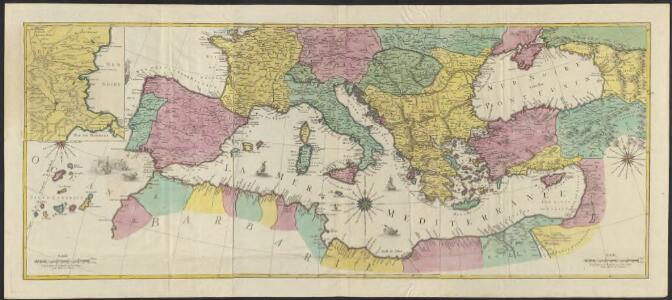 Carte géographique representant la Mer Méditerranée ou la seconde partie du Théatre de la guerre entre les russes et les turcs : c'est a dire les roiaumes, les étâts, les provinces et les diverses isles situées dans la dite Mer, avec la Mer Noire ou Pont Euxine et une partie de la province Georgie en Asia