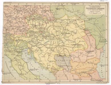 Karte der wichtigsten Eisenbahnen Österreich-Ungarns und den angrenzenden Gebiete