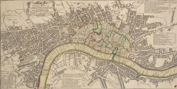 A Pocket MAP of LONDON, WESTMINSTER and SOUTHWARK With the New Buildings to ye Year 1760. Not Extant in any other Map.
