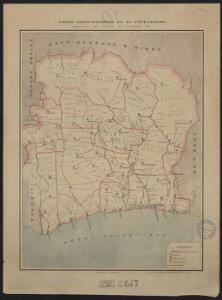 Carte administrative de la Côte d'Ivoire. Répartition des cercles au 1er janvier 1909