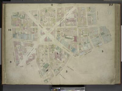 [Plate 10: Map bounded by James Street, South Street, Dover Street, Rose Street, Duane Street, Chatham Street; Including Roosevelt     Street, Chesnut Street, Pearl Street, Franklin Square, Bowery, Chambers Street,  Cliff Street, Jacob Street, Gold St