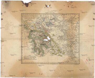 Graeciae antiquae et adjacentis partim Asiae Minoris tabula geographica