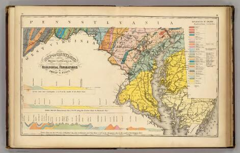 Map of Maryland and the District of Columbia geological formations.