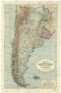 Dietrich Reimers Handkarte von Argentinien, Paraguay und Uruguay, sowie Teilen von Chile und Brasilien