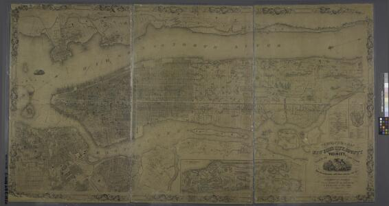 Topographical map of New York City, County and vicinity : showing old farm lines &c. / based on Randells and other official surveys, drawings and modern surveys by J.F. Harrison & T. Magrane ; printed by C. Wadlow.