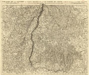 Théatre de la Guerre ou Carte Nouvelle De le Cours du Rhin au dessus de Strasbourg, et Les Pays Adjacens