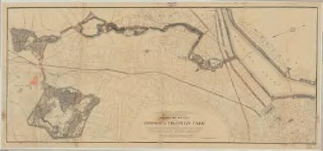 Plan of portion of park system from Common to Franklin Park : including Charles River Basin, Charlesbank, Commonwealth Avenue, Back Bay Fens, Muddy River Improvement, Leverett Park, Jamaica Park, Arborway and Arnold Arboretum