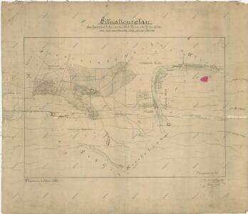 Situační plán pozemků patřících dvoru Rohy v katastru obce Bohy