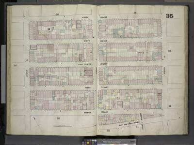 [Plate 35: Map bounded by Sixth Street, Avenue D,     East Houston Street, Avenue C, Second Street, Avenue B; Including Fifth Street,  East Fourth Street, Third Street, Sheriff Street]