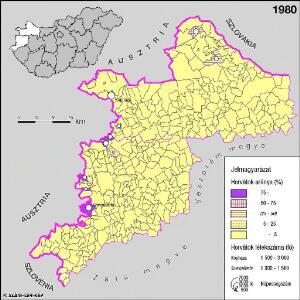 A horvátok aránya és száma Nyugat-Magyarországon 1980-ban