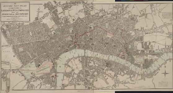 AN ENTIRE NEW PLAN OF THE CITIES OF LONDON AND WESTMINSTER WITH THE BOROUGH OF SOUTHWARK 205