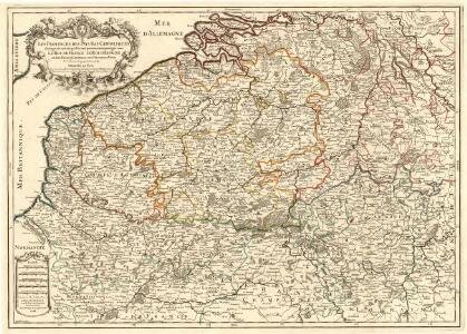 Les Provinces des Pays-Bas Catholiques distinguées suivant qu'elles sont presentement partagées entre le Roy de France le Roy d'Espagne et les Estats Generaux des Provinces Vnies