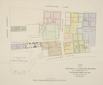 PLAN of the FREEHOLD and LEASEHOLD ESTATES late the Establishment of the GENERAL-POST OFFICE for the Sale in 14 Lots by Mr HOGGART