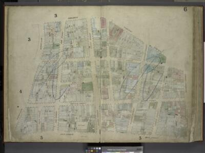 [Plate 6: Map bounded by Broadway, Park Row,          Frankfort Street, Gold Street, Maiden Lane; Including Nassau Street, Theater     Alley, Dutch Street, William Street, Platt Street, John Street, Fulton Street,   Ann Street, Beekman Street, Spruce