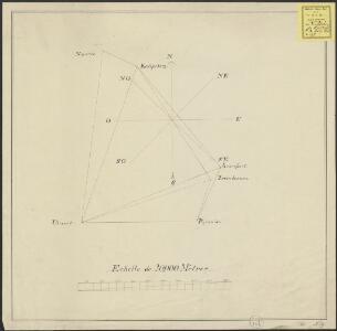 [Map of a triangulation network between Naarden, Utrecht, and Amersfoort]