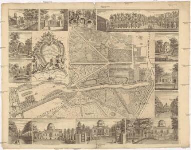 Plan du jardin & vuë des maisons de Chiswick sur la Tamise a deux lieves de Londres