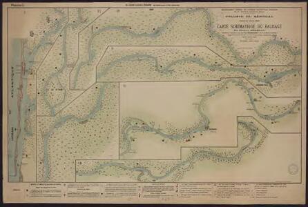 Carte schématique du balisage du fleuve Sénégal. De Saint-Louis à Podor. De Saint-Louis à l'île Lamenayo
