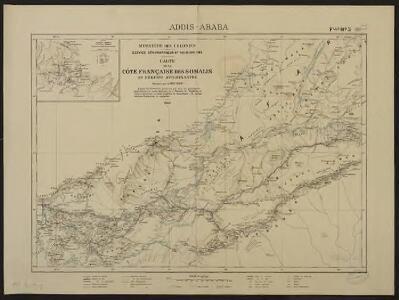 Carte de la côte française des Somalis et régions avoisinantes. Addis-Ababa