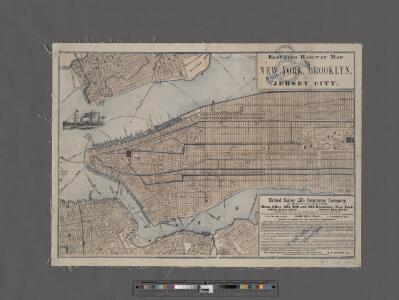 Elevated railway map of New York, Brooklyn, and Jersey City.