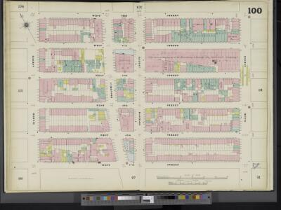 Manhattan, V. 5, Double Page Plate No. 100 [Map bounded by W. 52nd St., 6th Ave., W. 47th St., 8th Ave.]