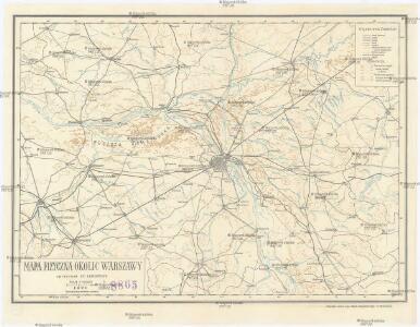 Mapa fizyczna okolic Warszawy