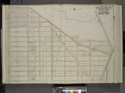 Queens, Vol. 2, Double Page Plate No. 5; Part of Long Island City Ward One (Part of Old Ward Two) and Part of Newtown Ward Two; [Map   bounded by Woodside Ave., Celtic Ave. (Highway to Calvary Cemetery), Hunters     Point Ave.; Including Borden Ave.,