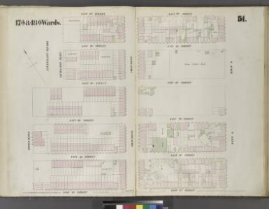 Plate 51: Map bounded by East 15th Street, Livingston Place, East 17th Street, Aveneu A East 12th Streeet, Second Avenue.