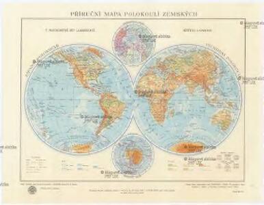 Příruční mapa polokoulí zemských