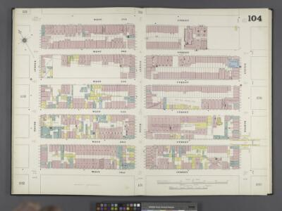 Manhattan, V. 6, Double Page Plate No. 104 [Map bounded by W. 57th St., 8th Ave., W. 52nd St., 10th Ave.]