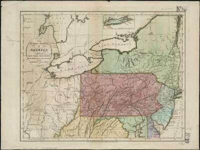 Map of the middle states of America, comprehends New-York, New-Jersey, Pennsylvania, Delaware, and the territory N.W. of Ohio