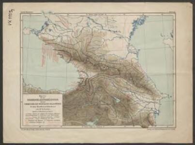 Karte für die Niederschlagsverhältnisse und die Verbreitung der wichtigsten Holzgewächse in den Kaukasusländern