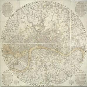 BOWLES'S NEW PLAN OF LONDON, WESTMINSTER AND SOUTHWARK, WITH THEIR ENVIRONS TO THE EXTENT OF THREE MILES ROUND ST. PAUL'S
