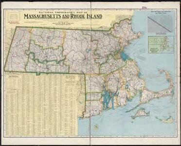 National topographic map of Massachusetts and Rhode Island : showing counties, townships, cities, villages and post offices ... according to the latest census.