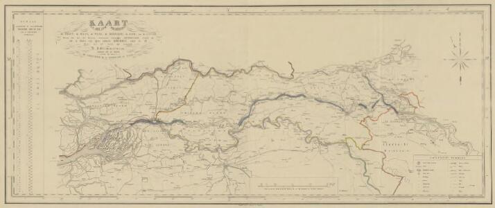 Kaart van den loop der rivieren de Rhijn, de Maas, de Waal, de Merwede, de Lek, en de Linge, waarop alle door die rivieren veroorzaakte belangrijke dijkbreuken, alsmede de zich in dezelve vast gezet hebbende ijsdammen, sedert de XV eeuw, met het jaartal zijn aangeduid