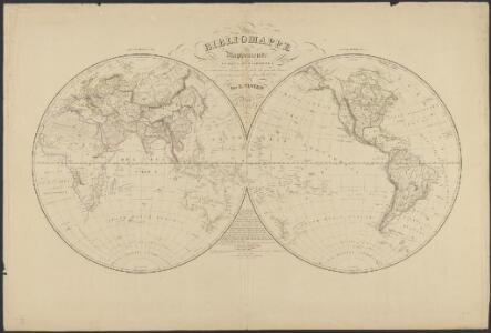 Mappemonde en deux hémisphères où sont tracées les lignes de faîte des grands bassins qui partagent la surface du globe
