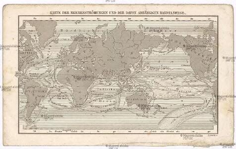Karte der Meeresströmungen und der davon abhängigen Handelswege