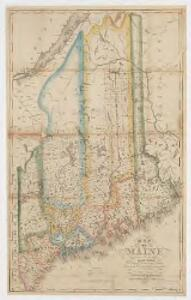Map of Maine : constructed from the most correct surveys, with sectional distances and elevations, or level, of the St. Croix River from Calais Bridge, deduced from the states survey