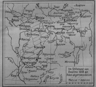 Im Stillstand von Deulino 1618 an Polen abgetretene Gebiete