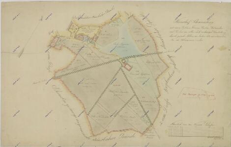 Mapa nově přeměřených pozemků dvora Švamberk 1
