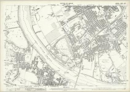 London (Edition of 1894-96) XCIX (includes: Barnes; Fulham; Wandsworth Borough) - 25 Inch Map