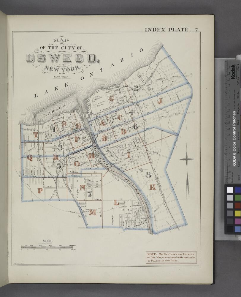 Map Of New York Oswego.Map Of The City Of Oswego New York Index Plate